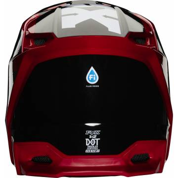 Motocross Helm Fox V2 Hayl , rot/schwarz für Kinder Vorderansicht