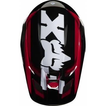 Motocross Helm Fox V2 Hayl , rot/schwarz für Kinder aus der Vogelperspektive mit Fox Logo