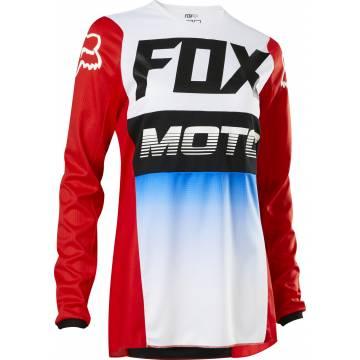 Motocross Jersey Fox WMNS 180 Fyce , rot/weiss/schwarz Vorderansicht
