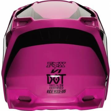 Motocross Helm Fox V1 Prix ,  pink/schwarz Rückansicht