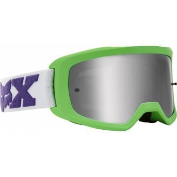 Kinder Motocross Brille Fox Main 2 Linc neongrün mit weissen Brillenband
