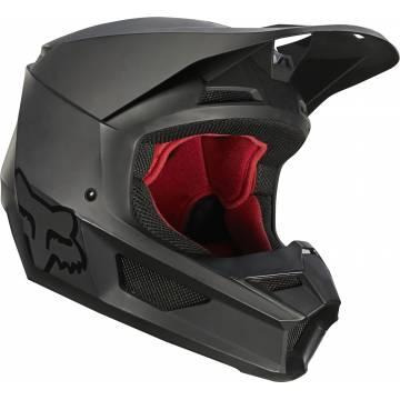 FOX V1 Matte Motocross Helm | schwarz matt | 27740-255 Seitenansicht