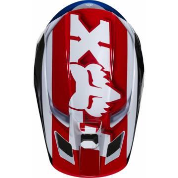Fox V2 Hayl Kinder Motocross Helm, weiss/rot/blau, 24786-149 Ansicht von oben