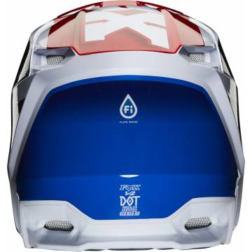 Fox V2 Hayl Kinder Motocross Helm, weiss/rot/blau, 24786-149 Rückansicht
