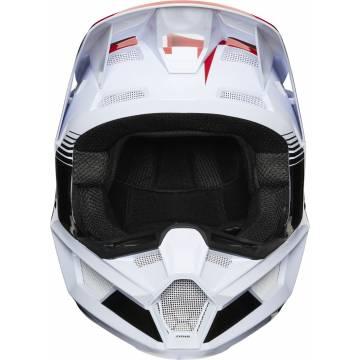 Fox V2 Hayl Kinder Motocross Helm, weiss/rot/blau, 24786-149 Frontansicht