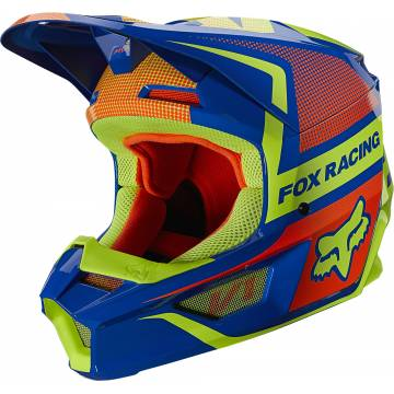 FOX V1 Oktiv Kinder Motocross Helm | blau-neongelb | 25878-002