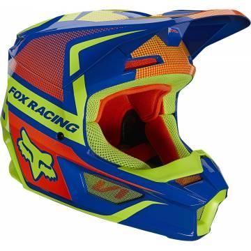 FOX V1 Oktiv Kinder Motocross Helm   blau-neongelb   25878-002 Seitenansicht