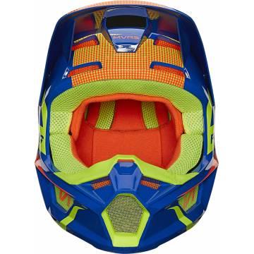 FOX V1 Oktiv Kinder Motocross Helm   blau-neongelb   25878-002 Ansicht vorne