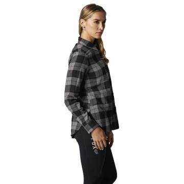 FOX Pines Damen Flanellhemd, grau, 25703-185 Seitenansicht