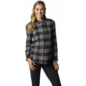 FOX Pines Damen Flanellhemd, grau, 25703-185