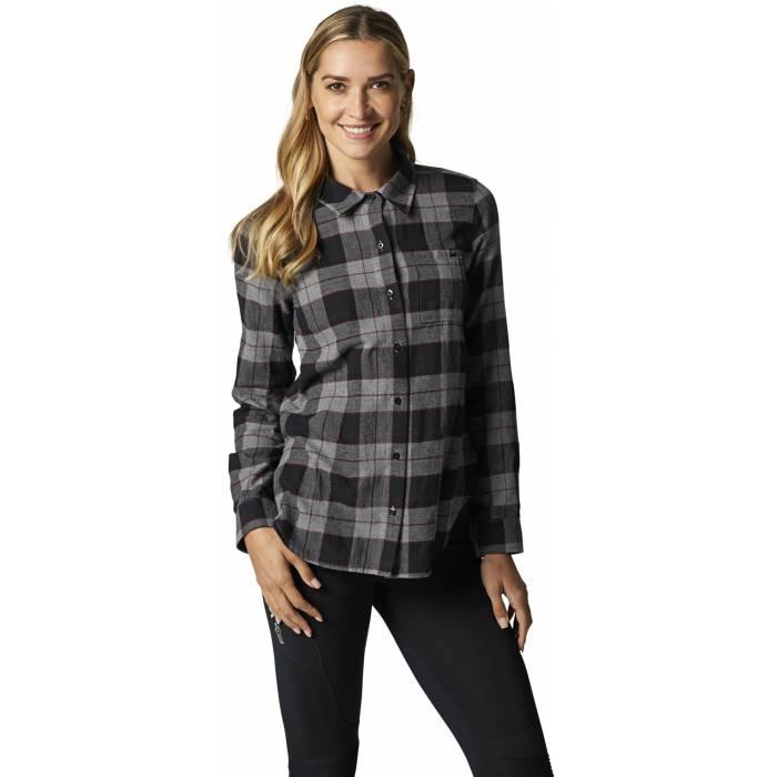 FOX Pines Damen Flanellhemd, grau, 25703-185
