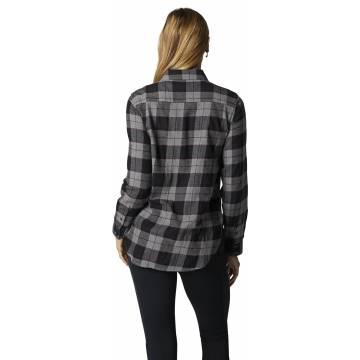 FOX Pines Damen Flanellhemd, grau, 25703-185 Rückansicht