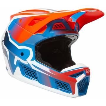 FOX V3 RS Wired Motocross Helm   orange-blau   25814-122 Seitenansicht
