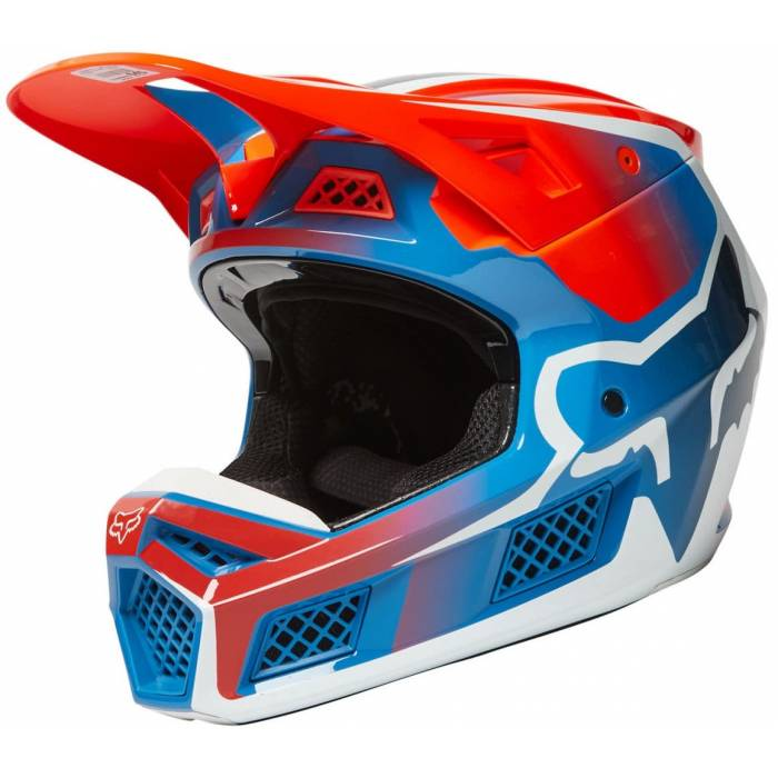 FOX V3 RS Wired Motocross Helm | orange-blau | 25814-122