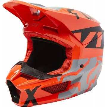 FOX V1 Kinder Motocross Helm Lux | orange grau | 28358-172 Steel Grey