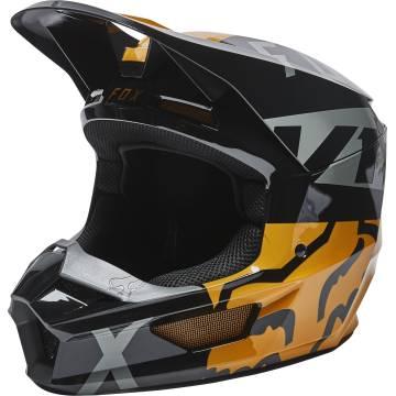 FOX V1 Kinder Motocross Helm Skew | schwarz gold | 28358-595 Black Gold